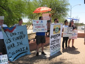 The Alliance for Global Justice and Tucson community members protest the training of troops from the Colombian Armed Forces and Special Forces at Davis-Monthan Air Force Base.